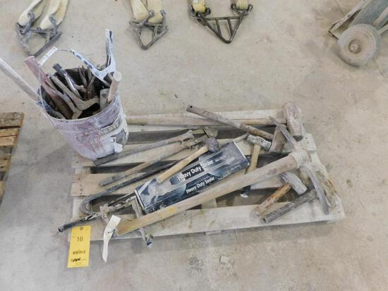 LOT: Assorted Hand Tools including Hammers, Cutters, Sealer, Pipe Wrench, etc. on (1) Pallet