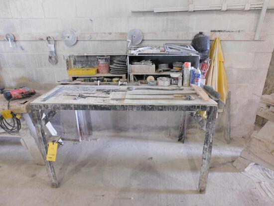 LOT: 62 in. x 36 in. x 48 in. Steel Work Table, with Contents of Clamps, Tape Measures, Squares,