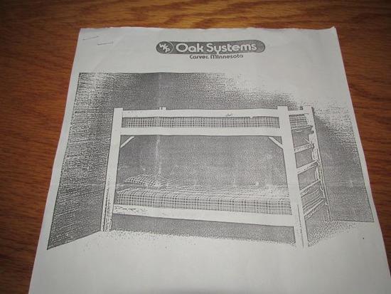 OAK SYSTEMS BUNK BED SET W/ (1) TWIN MATTRESS
