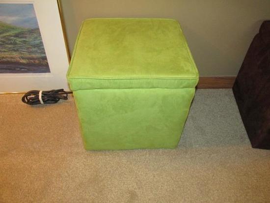 """GREEN STORAGE BOX - FOOT STOOL 15""""X15"""""""