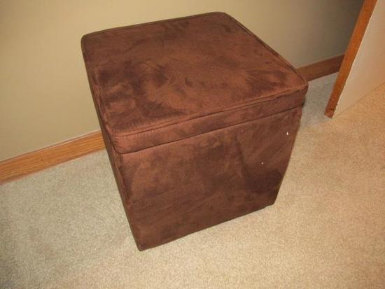 "BROWN STORAGE BOX - FOOT STOOL 15""x15"""