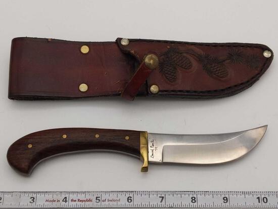 David Benitez Signed 79' Custom Fixed Blade Wood Handle Knife & Sheath