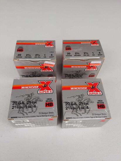 "Winchester Super-X 20 GA. 2 3/4"" 2 3/4 DR. 1 oz. 4 Shot (100 Rounds)"