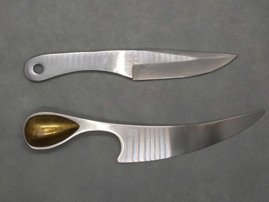 Dansk Intl. Brass-Stainless Cheese Knife & Gil Hibben GHO Throwing Knife (1)