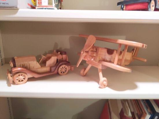 Hand Made Wood Car & Airplane