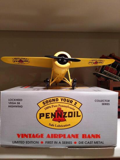 Pennzoil Die Cast Vintage Airplane Bank