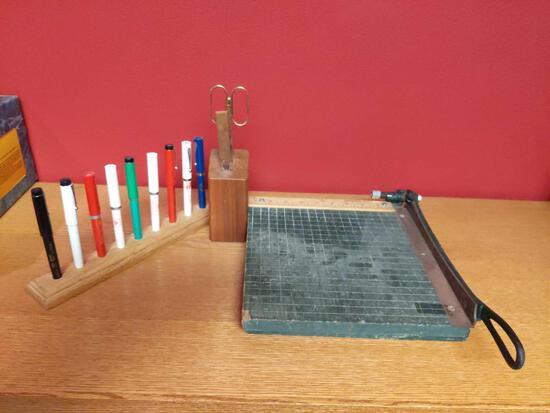 Office Lot - Pens, Paper Cutter & Scissor & Letter Opener