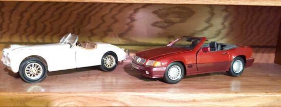 Ertl 1948 Jaguar XK-120 & Maisto 1989 Mercedes Benz 500 SL 1/18 Scale
