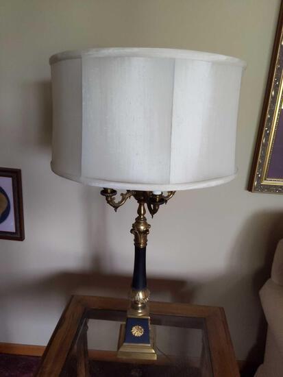 "Pair 3 Way Lamp Black & Gold 31"" Tall"