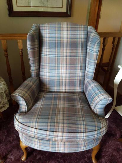Pair of Plaid Wingback Chairs