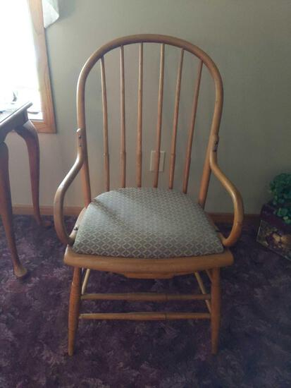 """Wood Bow Back Chair with Fabric Cushion 36"""" Tall"""