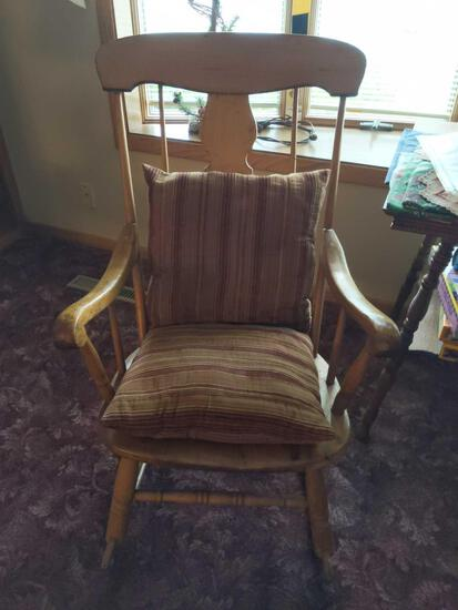 Wooden Rocking Chair with Pillows