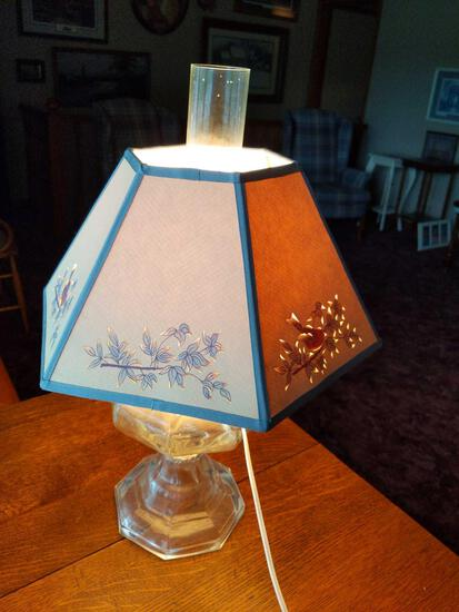 Electrified Oil Lamp with Shade