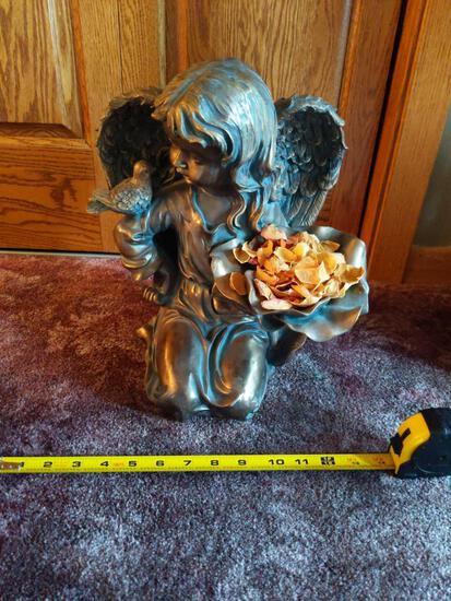 """Angel Figure 14"""" Tall , Blue flower pot 7"""" Tall 9"""" wide"""