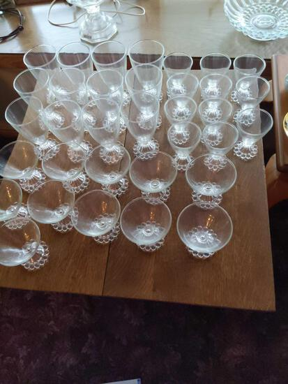 Anchor Hocking Boopie glassware Bubble Foot 12: large water, 11 dessert cup , 11 small wine glass No