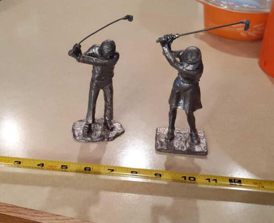 Pewter Man & Lady Golfers
