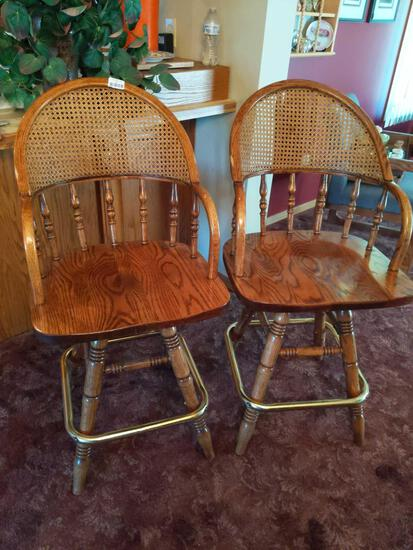 """Pair of Wood Bar Stools with Wicker Back 41"""" Tall"""