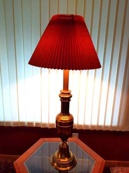 """Glass top Brass Lamp with Shade 37"""" Tall"""