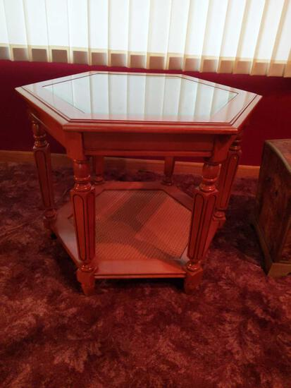"""Hexagon End Table with Wicker Inlay 24""""x20"""""""