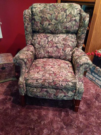 Floral Wingback Recliner Chair