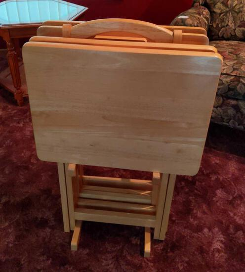 Wood T.V. Trays Set