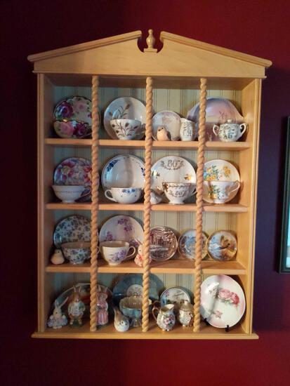 """Combination Collection of Tea Cups , Plates, Birds, Bunny Salt and Pepper with Shelf. 30""""x24"""""""