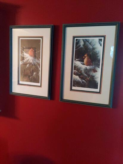 """Pair of Cardinal Pictures 19""""x13"""""""