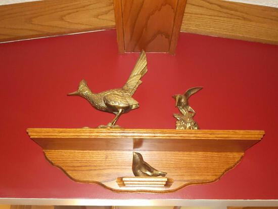 Brass Road Runner, Humming Bird & Bird Lot w/Shelf