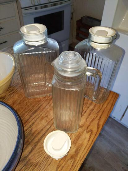 Refrigerator glass canister set