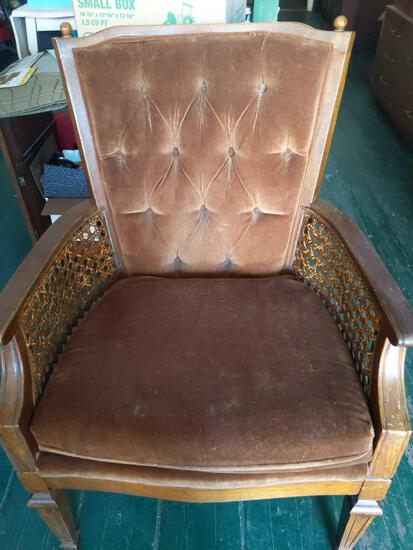Brown Chair with Wicker Arm Rests