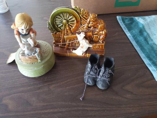 McCoy Planter, Porcelain music box sculpture, Baby Shoes
