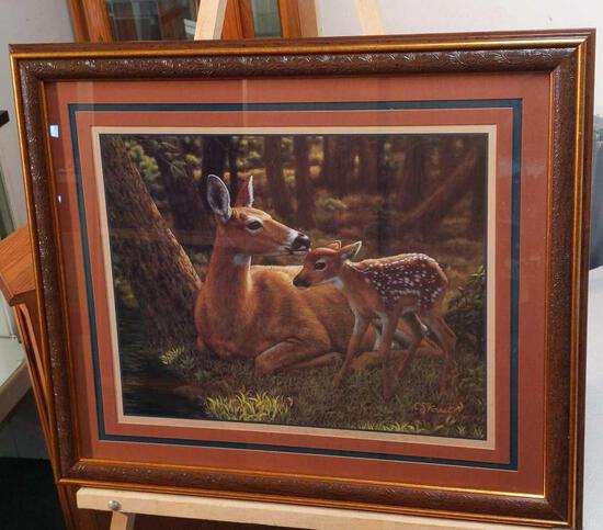 """Home Interiors Doe with Fawn by CS Forest 27""""x22"""""""