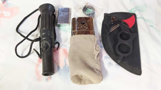 Miscellaneous Lot including Duck Call Zippo Lighter, Hand Warmer, Skinning Knife