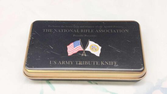 NRA US Army Tribute Knife in Tin