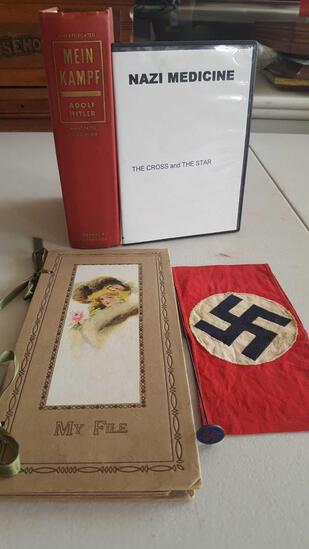 Mein Kampf book, My File notebook, Nazi arm band, hat pin & DVD Nazi Medicine