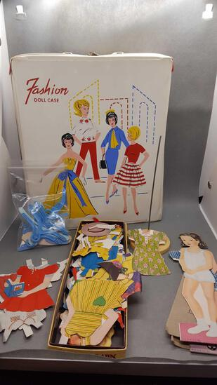 Barbie case, stand, paper dolls & variety of clothes & hangers