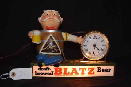 Blatz Beer Lighted Sign/Clock