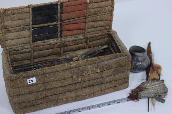 Woven Sewing Kit with black & orange decorative bands/includes contents of