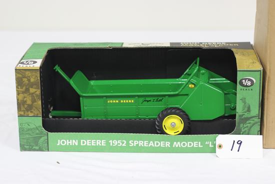 "#19 JOHN DEERE 1952 SPREADER MODEL ""L"" 1/8-SCALE SIGNED ""JOSEPH L. ERTL"" (NIB)"