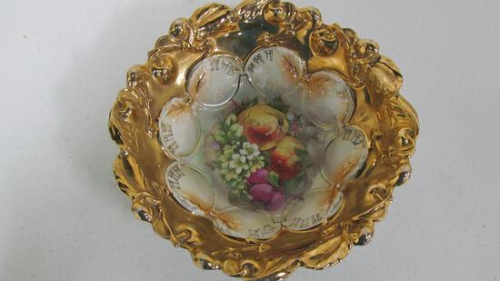 "9.75"" German floral pattern serving bowl with gold decoration"