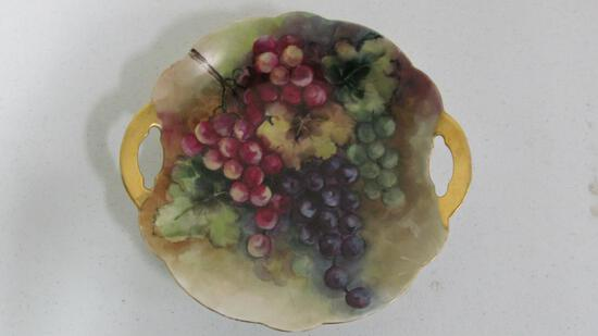 "10.5"" Limoges hand painted serving plate with grapes"