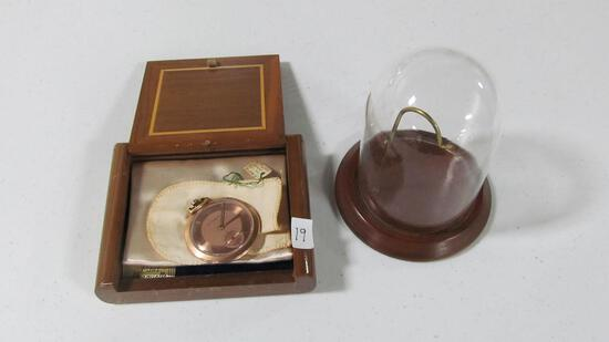 "Paul Breguette 14K gold 17-jewel pocket watch (1.75"" diam) in original box  & with dome holder"