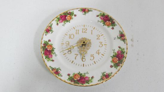 Old Country Rose plate clock 1962 10.5""