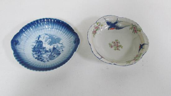 "(2) 10"" Delft-type serving bowls with Dutch scene & bluebirds"