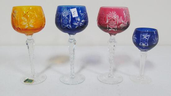 """(3) 5"""" & (1) 5.5"""" Bohemian stem glasses"""