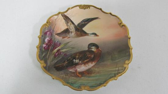 "12"" Limoges hand painted artist signed (Parr) wall plaque"