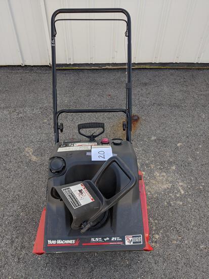 """Yard Machines By Mtd Snowblower 21"""", 5.5-hp Motor, Like New"""