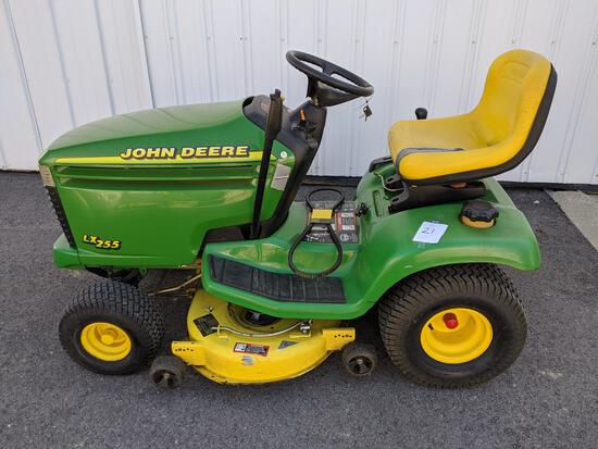 "John Deere Lx 255 Mower W/48"" Deck, 15-hp Motor (small Crack To The Hood & Tear In The Seat)"