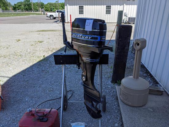 1973 Mercury 200 Boat Motor With 20 Hp, Fuel Can, Battery Box, Motor Extension Handle, Cover, Extra
