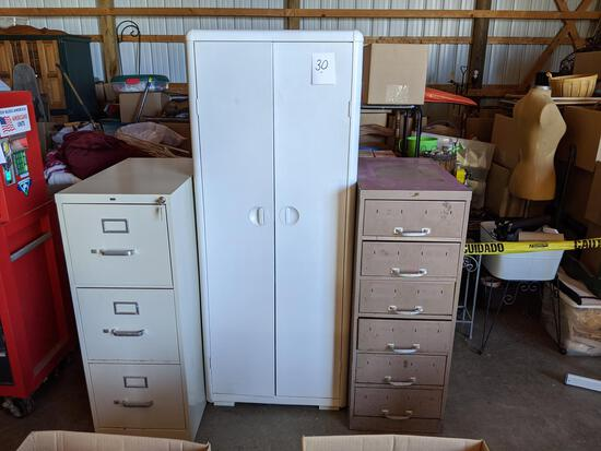 "6-drawer Metal Utility Cabinet 15""x26""x40""; Metal Double Door Cabinet 24""x11""x 5""; 3-drawer Metal Fi"